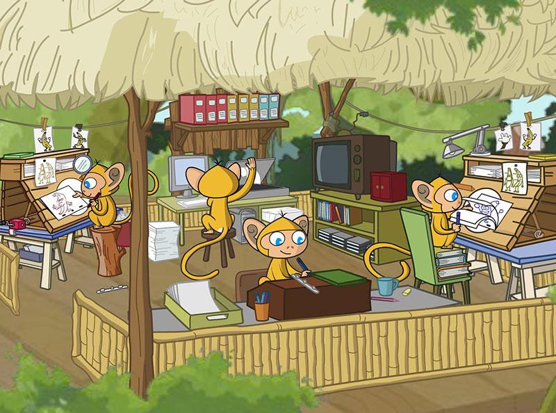 monos-trabajando-